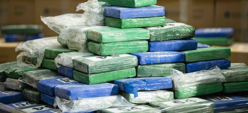 A fraction of the cocaine seized from a ship at a Philadelphia port is displayed ahead of a news conference at the U.S. Custom House in Philadelphia, on June 21, 2019.