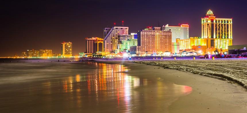 The skyline in Atlantic City, New Jersey.