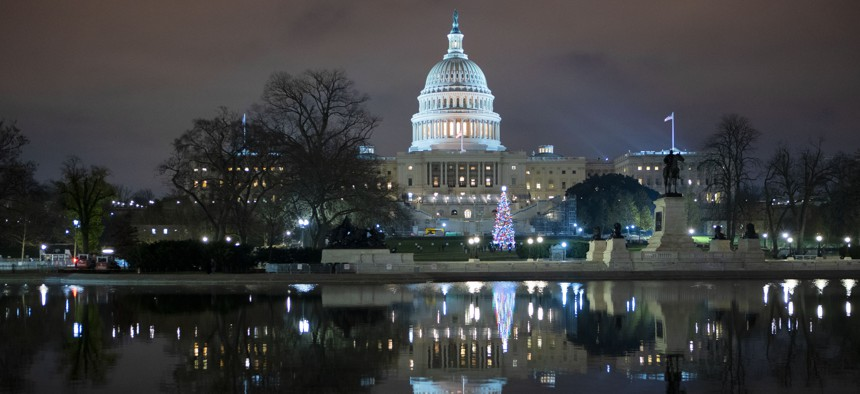 The U.S. Capitol is seen at night after negotiators sealed a deal for COVID relief Sunday, Dec. 20, 2020, in Washington.