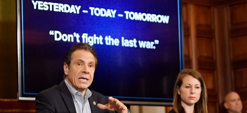 New York Gov. Andrew Cuomo discussing the coronavirus pandemic during a news conference.