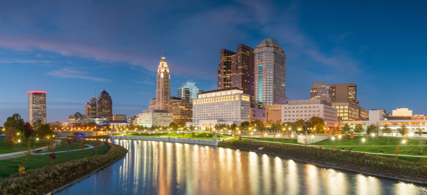 View of downtown Columbus, Ohio skyline. Columbus was the winner of the U.S. Department of Transportation's 2016 Smart City Challenge.