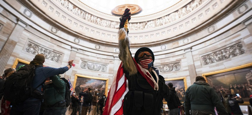A rioter inside the U.S. Capitol on Jan. 6 2021.