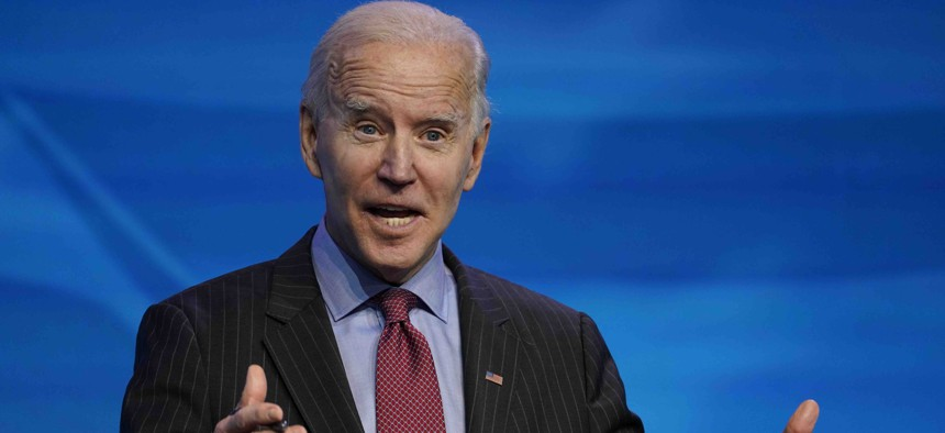 President-elect Joe Biden speaks during an event at The Queen theater in Wilmington, Del., Friday, Jan. 8, 2021, to announce key administration posts.