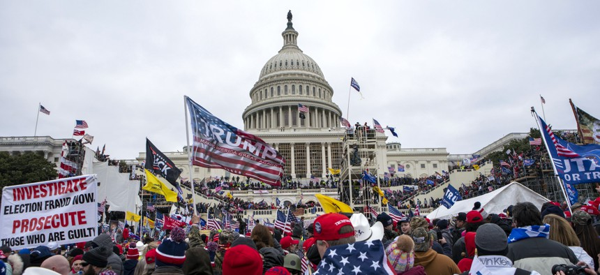 Supporters of President Donald Trump rally at the U.S. Capitol on Wednesday, Jan. 6, 2021, in Washington.