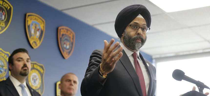 New Jersey Attorney General Gurbir Grewal speaks during a news conference in Jersey City, N.J., Thursday, Dec. 12, 2019.