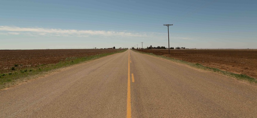 A rural stretch of highway in Texas.