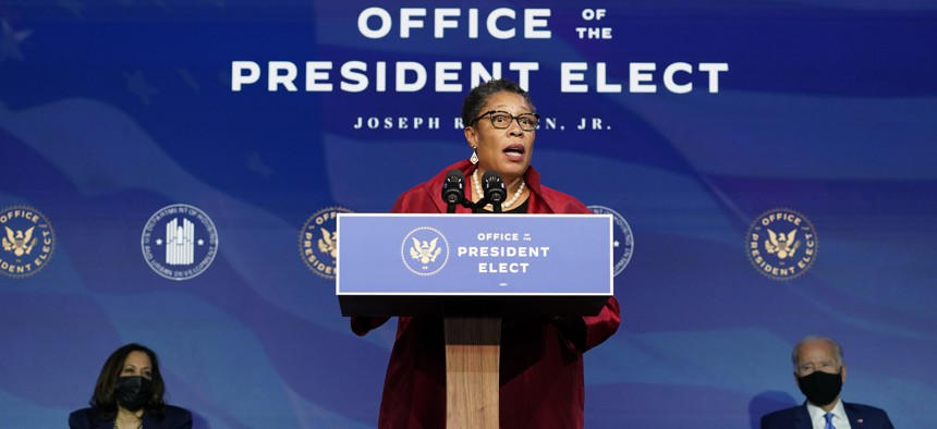 Rep. Marcia Fudge, D-Ohio, the Biden administration's choice to be the housing and urban development secretary, speaks during an event at The Queen theater in Wilmington, Del., Friday, Dec. 11, 2020.