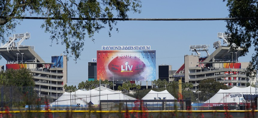 Raymond James Stadium, the site of NFL football Super Bowl LV, is shown Thursday, Jan. 28, 2021, in Tampa, Fla. The Tampa Bay Buccaneers play the Kansas City Chiefs on Feb. 7. (AP Photo/Chris O'Meara)