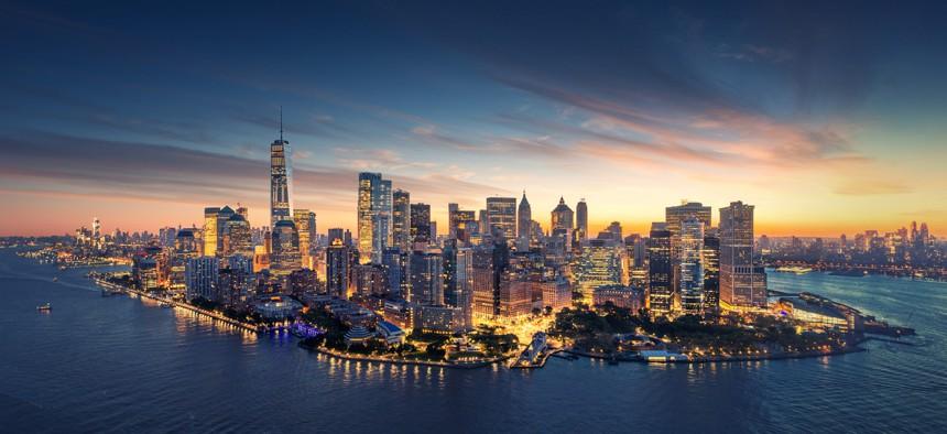 New York City skyline at sunrise.