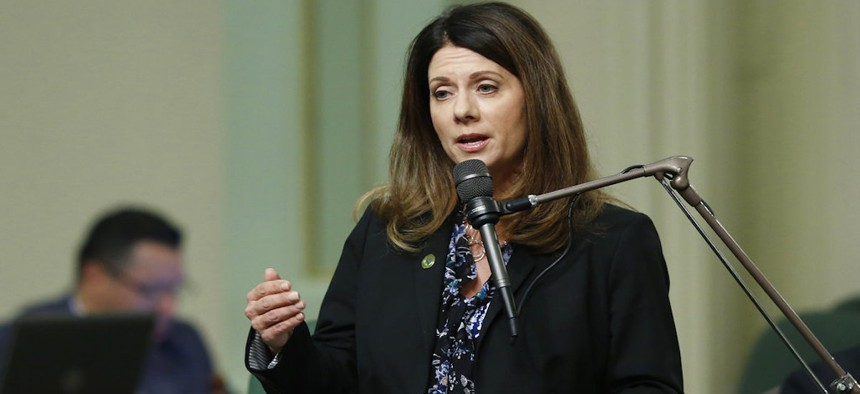 Assemblywoman Melissa Melendez, R-Lake Elsinore speaks on a measure before the Assembly, Thursday, Aug. 30, 2018, in Sacramento, Calif. Lawmakers are on a Friday Aug. 31 deadline to complete all legislative business. (AP Photo/Rich Pedroncelli)