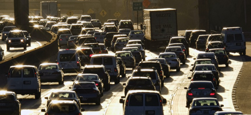 Morning rush hour traffic makes its way along US 101 near downtown Los Angeles.