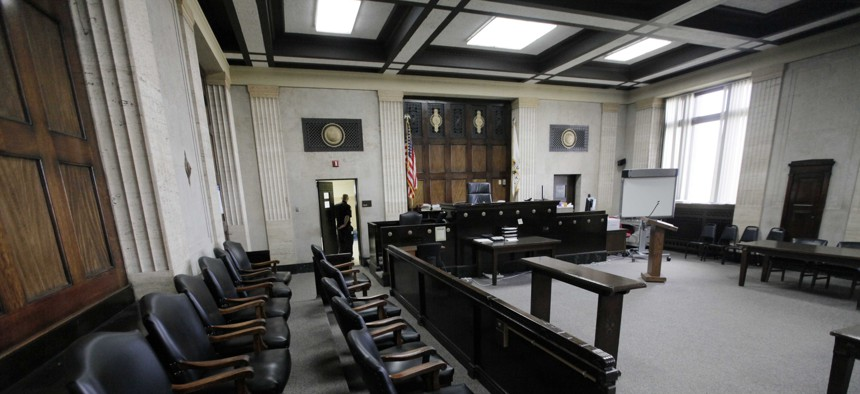 This photo shows the courtroom where William Balfour, the man accused of killing Jennifer Hudson's family will be tried, Monday, April 16, 2012, in Chicago.