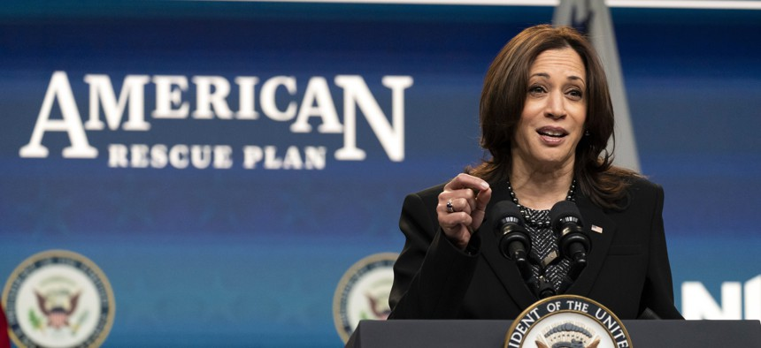 Vice President Kamala Harris speaks virtually to the National League of Cities' Congressional City Conference from the South Court Auditorium in the Eisenhower Executive Office Building on the White House campus, Monday, March 8, 2021, in Washington.