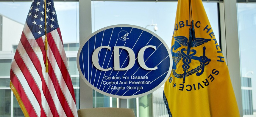 Centers for Disease Control and Prevention logo at the agency's federal headquarters in Atlanta.