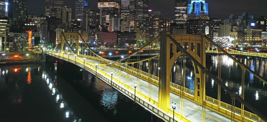 This Nov. 26, 2020 file photo shows the newly refurbished Rachel Carson Bridge over the Allegheny River in downtown Pittsburgh.