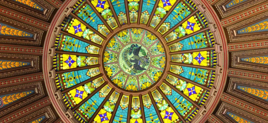 The inner dome of the Inner dome of the Illinois state Capitol building in Springfield.