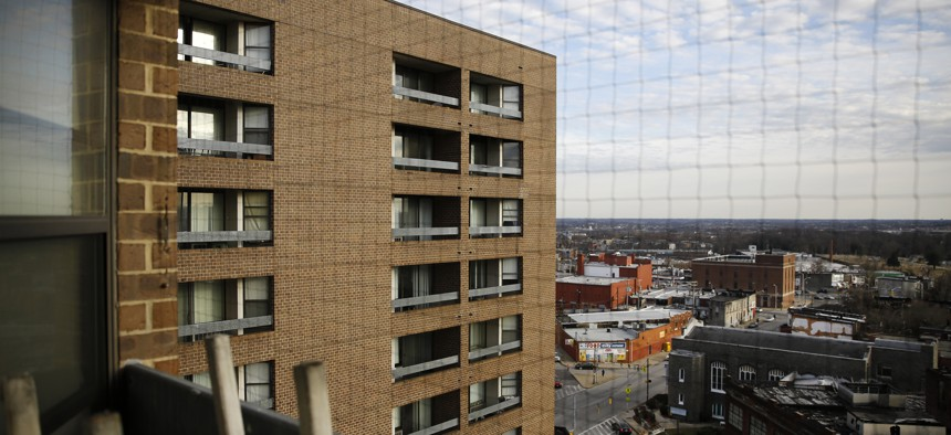 This Feb. 26, 2019, photo shows Rosemont Tower in Baltimore from a resident's balcony. Health and safety inspectors gave the 200-unit public housing high-rise a failing score of 25 out of a possible 100 in 2017 and then last year a score of 71.