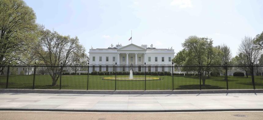 The White House from Pennsylvania Avenue outside the White House in Washington, on April 7, 2021.