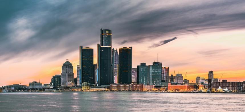 The Detroit skyline seen at dusk.