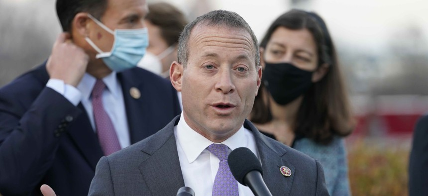 Rep. Josh Gottheimer, D-N.J., seen here in December 2020, is one of the lead proponents of repealing a cap on the federal deduction for state and local tax payments.