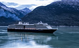 Holland America cruise ship MS Noordam sailing into Skagway, Alaska, at dawn, Aug. 25, 2015.