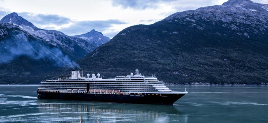 Holland America cruise ship MS Noordam sailing into Skagway, Alaska, at dawn, Aug. 25, 2015.