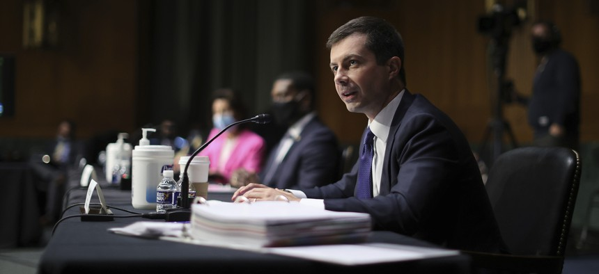 Transportation Secretary Pete Buttigieg testifies during a Senate Appropriations Committee hearing on Capitol Hill, Tuesday, April 20, 2021 in Washington.
