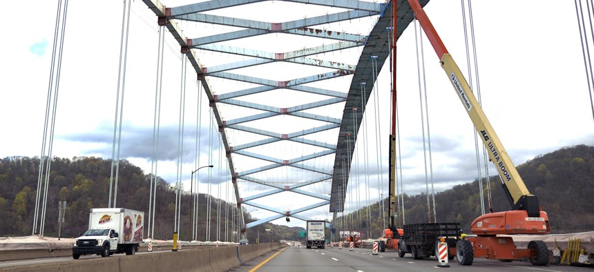 Work continues on the Neville Island Bridge preservation project near Pittsburgh on Friday, April 9, 2021. The bridge carries Interstate 79 over the Ohio River.