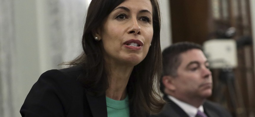 Jessica Rosenworcel answers a question during a Senate Commerce, Science, and Transportation committee hearing to examine the Federal Communications Commission on Capitol Hill in Washington, Wednesday, June 24, 2020.