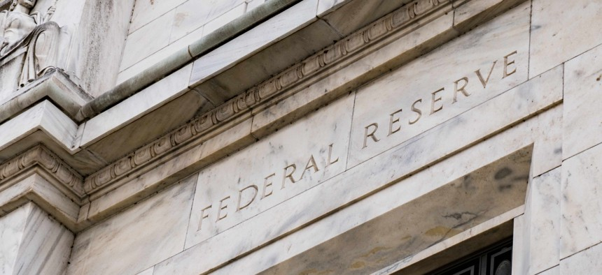 Facade on the Federal Reserve Building in Washington D.C.