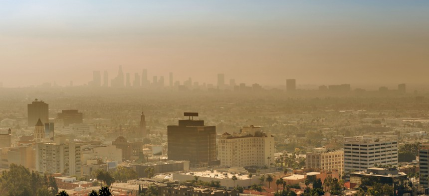 Air pollution over Los Angeles at sunset.