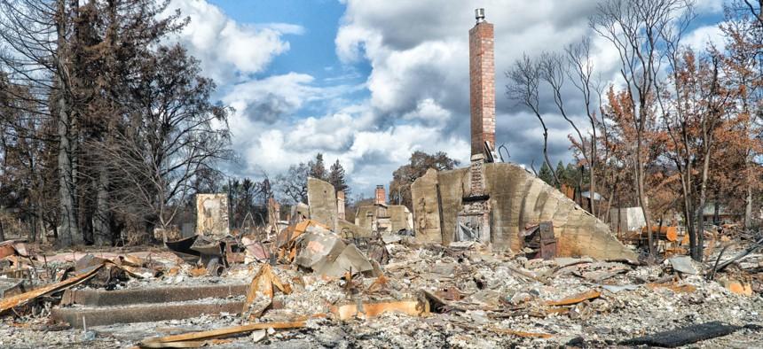 Santa Rosa, California homes burned in fire.