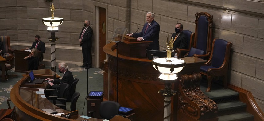 Missouri Gov. Mike Parson delivers the State of the State address Wednesday, Jan. 27, 2021, in Jefferson City, Mo.
