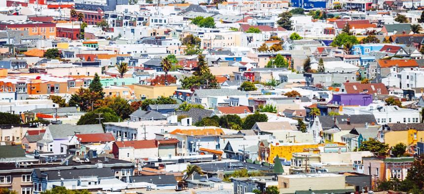 Aerial view to the city. San Francisco, California, USA.