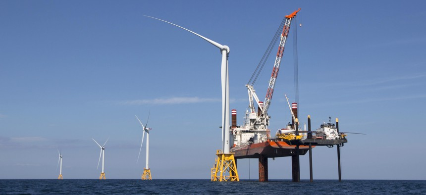 Wind turbines from the Deepwater Wind project are installed off Block Island, R.I.,
