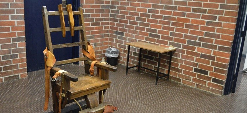 This March 2019 photo provided by the South Carolina Department of Corrections shows the state's electric chair, in Columbia, S.C.