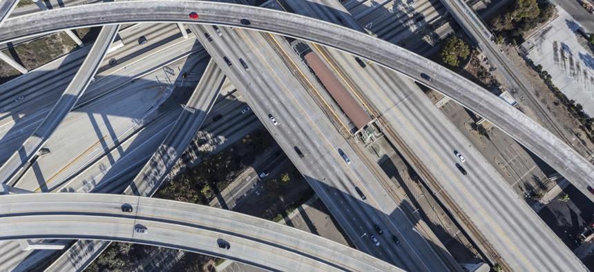 A freeway interchange in Los Angeles, as seen in 2016.