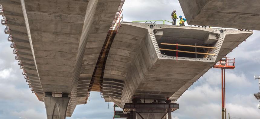 Bridge construction in Miami, during 2020.