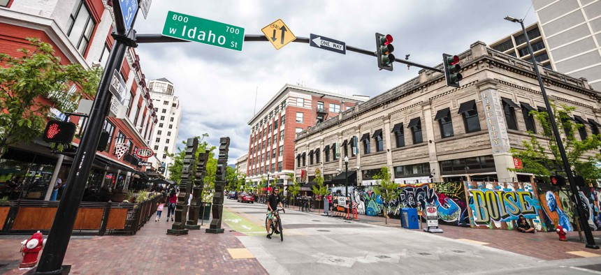 A view of a downtown street in Boise, Idaho, where rental costs are on the rise.