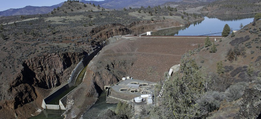 Iron Gate Dam, powerhouse and spillway on the lower Klamath River near Hornbrook, Calif.