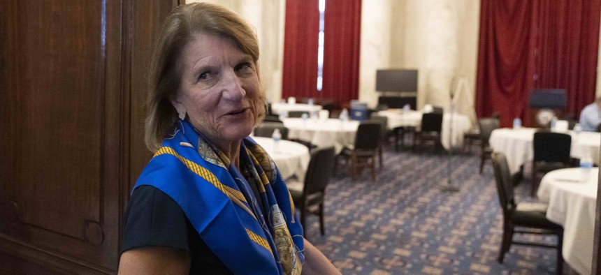 Sen. Shelley Moore Capito, R-W.Va., who was the lead GOP negotiator on infrastructure talks with the White House, arrives for a Republican caucus luncheon on Capitol Hill, Tuesday, June 8, 2021, in Washington.