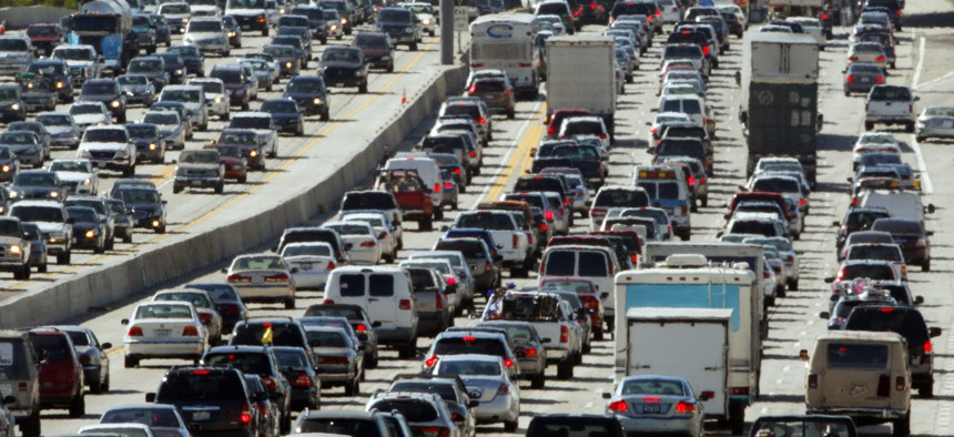 This May 28, 2010, file photo shows traffic jammed in both directions on Interstate 405 on the Westside of Los Angeles.