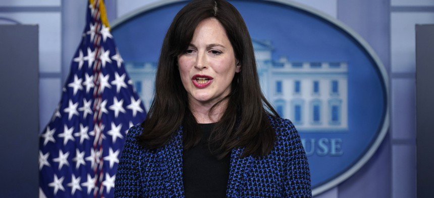 """In this Feb. 17, 2021, file photo White House deputy national security adviser Anne Neuberger speaks during a press briefing in Washington. The Biden administration has created an initiative aimed at helping critical industries, like the electric utility and water sectors, protect against damaging and destabilizing cyberattacks. """"Our aim is to ensure that control systems serving 50,000 or more Americans have the core technology to detect and block malicious cyber activity,"""" Neuberger said in an interview with The Associated Press on Thursday, April 1"""