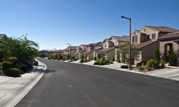 Modern street of typical middle class desert homes near Las Vegas Nevada.