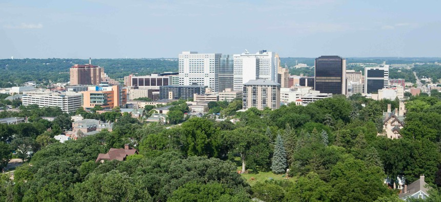 Downtown Rochester, Minnesota. The center right building is the main Mayo Clinic to the left Mayo's Gonda building.