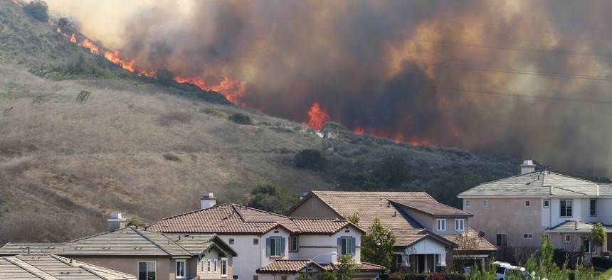 Southern California wildfire near homes..