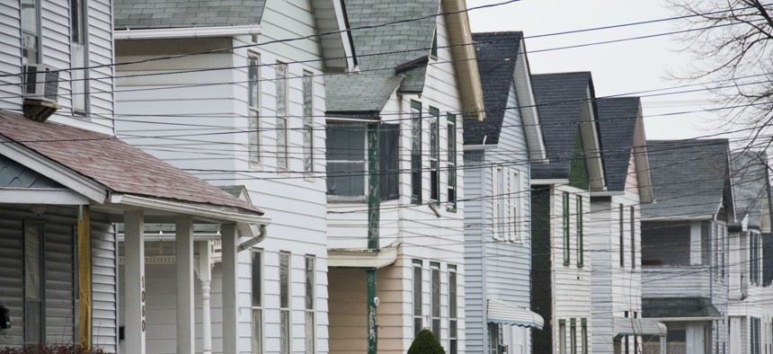 Line of houses on a street in a Cleveland, Ohio neighborhood.