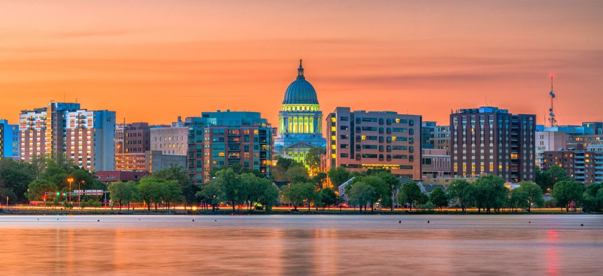 The skyline in Madison, Wisconsin at dusk.