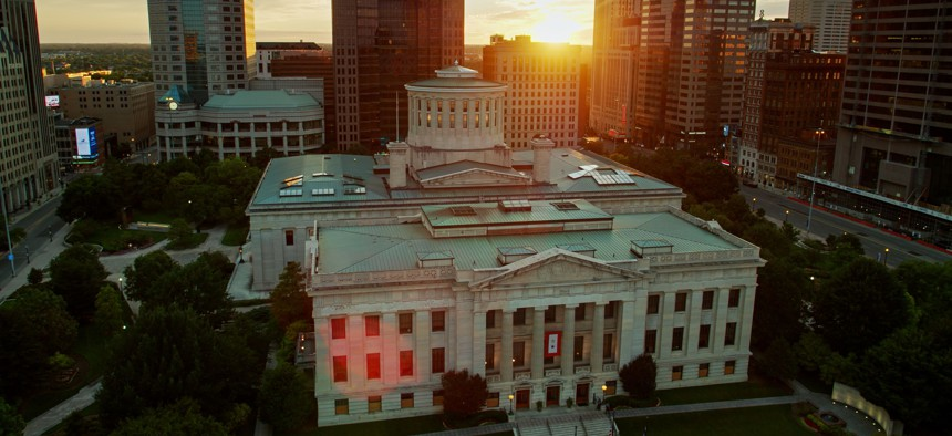 The Ohio state Capitol building in Columbus, at sunset.