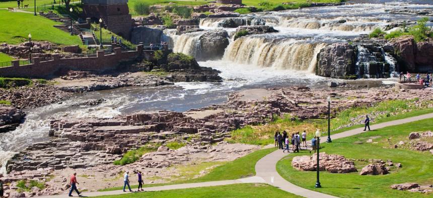 Falls Park Waterfalls in Sioux Falls, South Dakota.